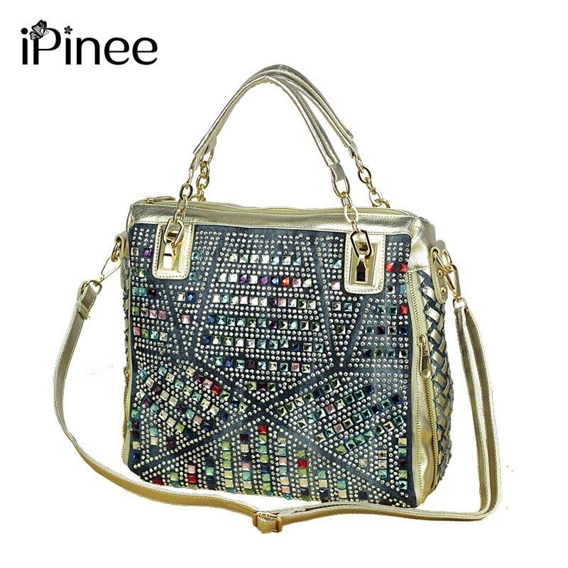 iPinee fashion brand luxury bag designer handbags high quality gold diamante woven denim bags shipping<br>