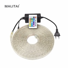 Waterproof SMD 5050 AC 220V LED Strip lamp Neon RGB LED String light Outdoor Tape Garden Home Decoration lighting +24key Remoter