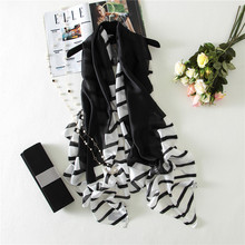 Plain Black White Striped Real Silk Shawl Scarf 2017 Spring Luxury Brand Fashion Digital Print Echarpe Foulard Femme Hijab Caps