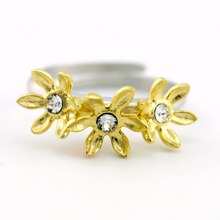 925 Sterling Silver Golden Flowers Zirconia Adjustable Pinkie Ring size 5 A3288(China)
