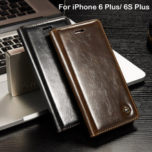 Phone Cases For iPhone 6S Plus Flip Cover Case Wallet Card Holder Brown Leather Case For iPhone 6 Plus Luxury Brand Women Girls