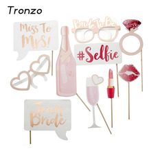 Tronzo Wedding Decoration Photo Booth Prop Hen Party 10Pcs Team Bride To Be Photobooth Bridal Shower Bachelorette Party Supplies(China)