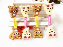 10pcs/lot Cartoon rilakkuma Headphone Earphone Cable Wire Organizer Cord Holder USB Charger Cable Winder For iphone samsung MP3(China)