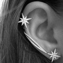1PC Luxury Rhinestone Crystal Snowflake Star Ear Cuff Silver Color Chain Clip Wrap Earrings for Women Fashion Jewelry