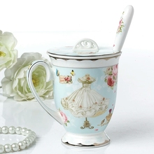 British Purified Bone China Coffee Mug High Quality Porcelain Flower Skirt Fashion Design Office Ceramic Cup of Tea Milk Water