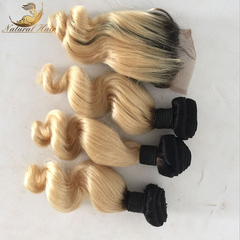 Brazilian 1b 613 ombre with closure wavy hair weft blonde bundles with closure ombre hair extensions with closure 4pcs<br><br>Aliexpress