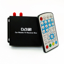 Fully SD/HD 1080P Car DVB-T2 Mobile High Speed Digital TV Tuner Receiver BOX For Russia with mobility tuner & active antenna(China)