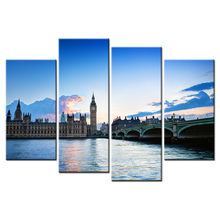 Wall Art Decor Painting Modular Pictures Photo Printed On Canvas Bridge Big Clock Tower Poster Canvas Art Home Decoration Paints