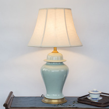 Bedroom vintage table lamp china living room Table Lamp for wedding decoration porcelain night table lamp glazed(China)