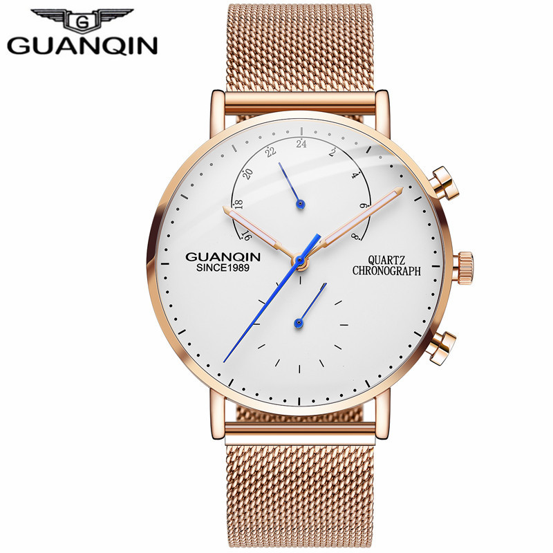 GUANQIN Quartz Chronograph Watch Man Luminous Gold Mens Watches Luxury Business Male Clock Stainless Steel Strap Wristwatches<br>