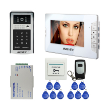 "Free Shipping Wired 7"" Video Door Phone Intercom System white Monitor + 700TVL Outdoor RFID Code Keypad Number Camera + Remote"
