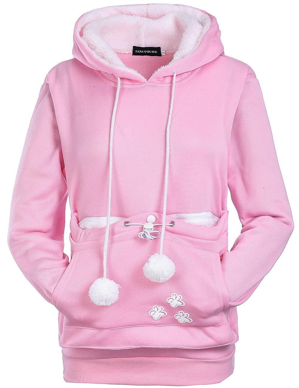 17 New Cartoon Hooded Hoodies Lover Cats Kangaroo Dog Hoodie Long Sleeve Sweatshirt Front Pocket Casual Animal Ear Hoodie 2