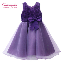 Cutestyles 2017 New Flower Girl Purple Rose Party Dress With Bow Girls vestido Clothes Summer For Wedding Kids  GD81124-2