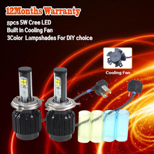 1set  H4 LED Bulbs High Low Beam Headlight Cree LED Light Bulbs Built In Driver & Cooling Fan Replace Original Halogen Bulb