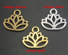 50 pcs Antique Bronze Silver Gold Lotus Flower Charms Pendant Fit DIY Bracelet Necklace Jewelry Findings