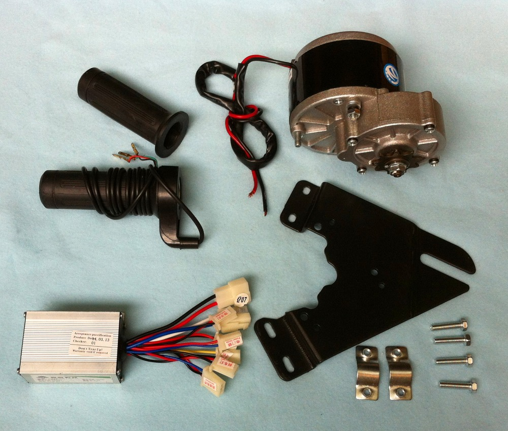 MY1016Z2  250W 24V gear brush motor with Motor Controller and Twist Throttle, DIY  Electric Bicycle Kit<br>