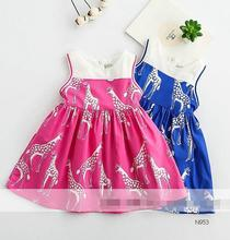 2017 new arrivals summer children girls dress fashion deer embroidery net yarn princess sleeveless dress size 2-8 N950