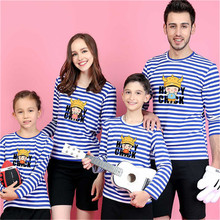9 Styles Long Sleeve Family Matching Outfits Print Top Mother Daughter Clothes Pure Cotton Cartoon O-Neck Parent-Child T-Shirts(China)