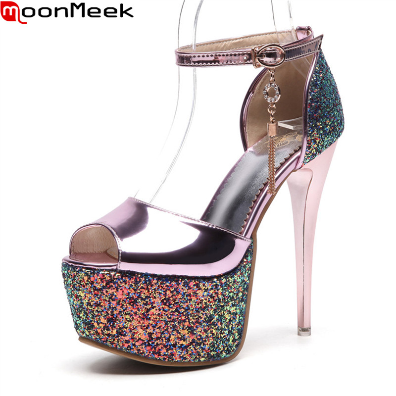 MoonMeek hot sexy sandals women high heels round toe with platform buckle thin heel party weddding shoes ladies shoes<br>