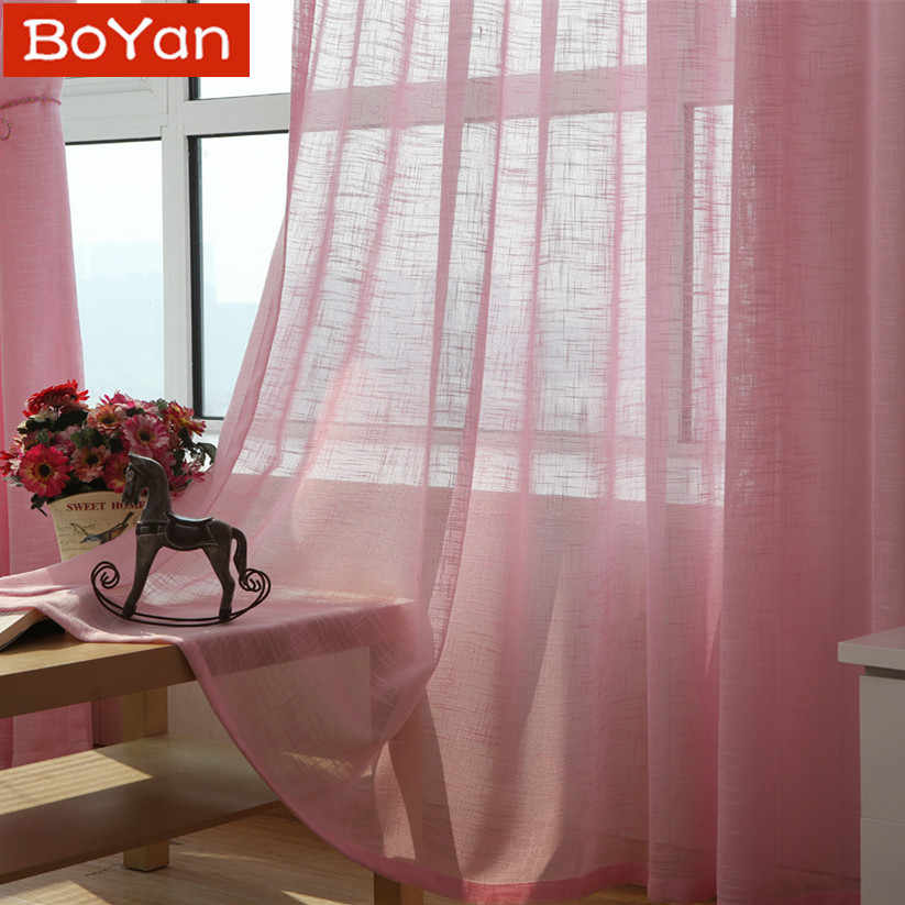 5 Color Curtains Lovely Solid Pink Tulle Window Curtains for Girls Bedroom Cute Cortinas for Window Treatment Sheer Custom Size