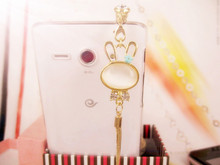 New cute long chain opal rabbit cell phone dust plug for Iphone for Xiaomi Samsung earphone dust plug
