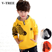 V-TREE 2016 winter warm thicken boys coat jacket hoodies outerwear teenage children hoody designer coat boy jackets kids clothes