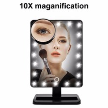 12'' Large Lighted Makeup Mirror with 20/24 LEDs Lights Tabletop Make Up Comestic Mirror Vanity Mirror with 10x Magnification(China)