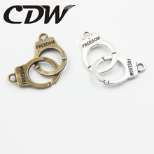 24PCS Creative Double Hanging Handcuffs Jewelry Findings And Components Connector DIY Jewellery Accessories Making