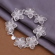 Wholesale 925 jewelry silver plated Bracelet,silver plated Fashion Jewelry,New Design Flower Bracelet SMTH317