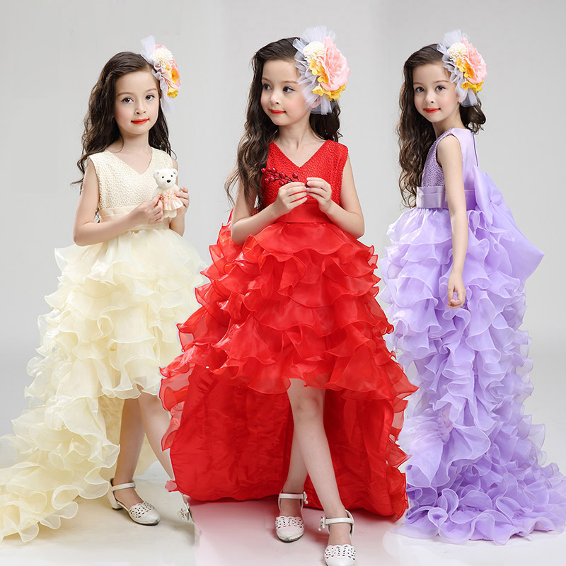 baby girls elegant train lace dresses children satin white purple red kids long tail evening gown party wedding christmas HB2175<br>