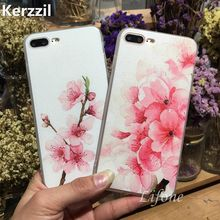 Kerzzil Silk Pattern Peach Bud Flower Soft Case For iPhone 7 6 6S Plus Phone Silicone Cover Back For iPhone 6 7 6S Capa(China)