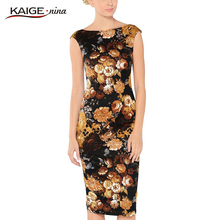 Buy KAIGE NINA Women Sexy Autumn&Winter Print Dress Casual Knee-Length Fashion Dress Backless Slim Plus Size Vintage Vestido 2157 for $16.31 in AliExpress store