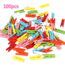 100 pcs Beautiful Design 25mm Mini Color Wooden Craft Pegs Clothes Paper Photo Hanging Spring Clips For Message Cards SF413
