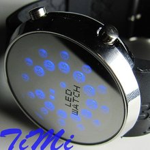 Unique Design Blue LED Dot Matrix Men's Sport Watch