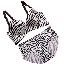 2 color Incognito piece zebra striped sexy bra small chest gather adjustable push up bra set underwear suit 3d breast close side(China)
