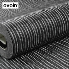 Textured Silver Striped Black Wallpaper Roll Vinyl Wall Paper For Bedroom Living Room(China)