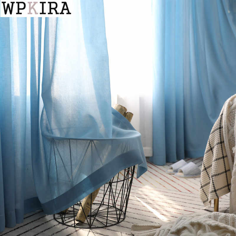 window tulle curtains for living room bedroom organza voile curtains Hotel Decoration blue Sheer curtains S043&30