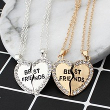 Good Friends Love English Pendant Pendant Necklace Fashion Two Rhinestones Alloy Flap Best Friends Necklace Free Shipping