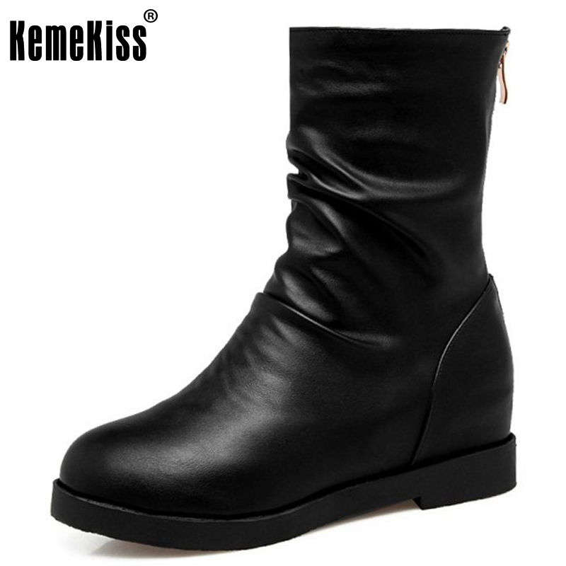 KemeKiss Size 34-43 Women Half Short Snow Boots Inside Heel Thick Fur Shoes Women Wedges Boots Cold Winter Boots Women Footwears<br>