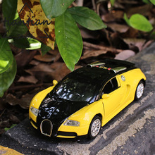 1:36 Alloy car model Bugatti Sports car Die-cast metal Choose from a variety of colors Children's toys Decoration