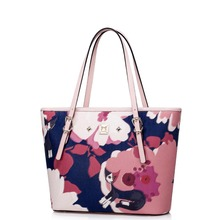 Women Cute Kitty Floral Print Leather Casual Tote Handbag Shoulder Bag Shopper Everyday Purse