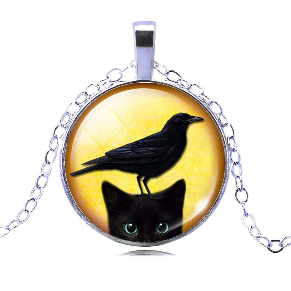 UNIQUE NECKLACE GLASS CABOCHON-SILVER BRONZE CHAIN NECKLACE BLACK CAT PICTURE VINTAGE PENDANT NECKLACE-Cat Jewelry-Free Shipping UNIQUE NECKLACE GLASS CABOCHON-SILVER BRONZE CHAIN NECKLACE BLACK CAT PICTURE VINTAGE PENDANT NECKLACE-Cat Jewelry-Free Shipping HTB17t1SMpXXXXa9XVXXq6xXFXXXu