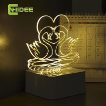 CNHIDEE Innovative 3D Night Light Loving Birds Mandarin Duck USB Touch Table Lamp as Creative Valentine Holiday Gift Fovere Love