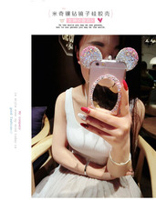 Dower Me 10 PCS/Lot Hot 3D Mirror Mouse Rhinestone Diamond Ears Soft TPU Case With Chain For iPhone 7 6 6S Plus 5 Wholesale