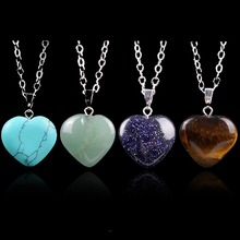 Heart Natural Stone Quartz Crystal Pendants Necklace Healing Point Chakra