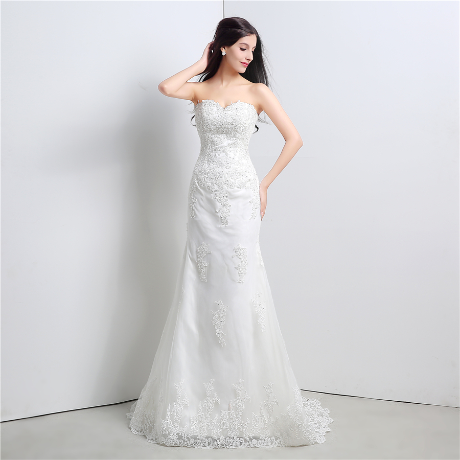 In Stock White/Ivory Applique Lace With Beading Wedding Dress Bandage Dropped Bridal Dress Robe De Mariage Vestido De Noiva 2