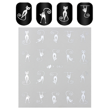 1 Sheet Cartoom Cat 3D Nail Sticker Gold Silver Nail Decals Manicure Sticker Decoration Y-063