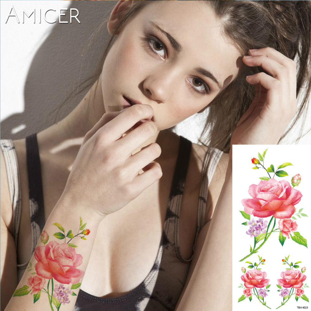 3D lifelike Cherry blossoms rose big flowers Waterproof Temporary tattoos women flash tattoo arm shoulder tattoo stickers 8
