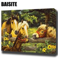 BAISITE DIY Framed Oil Painting By Numbers Animal Pictures Canvas Painting For Living Room Wall Art Home Decor E765(China)