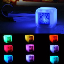 Multi-function Cartoon Child Snooze 7 Color Glowing Change Digital Alarm Clock LED Watch Glowing Alarm Thermometer Clock Cube